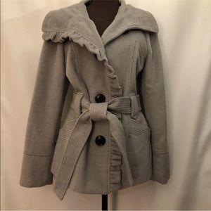 STEVE MADDEN Belted Short Trench Coat w/Ruffles